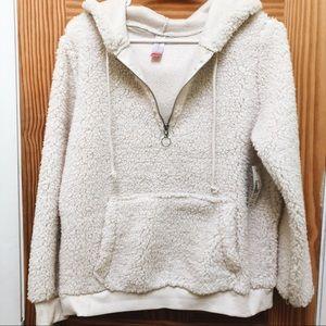 Sherpa hoodie with zip